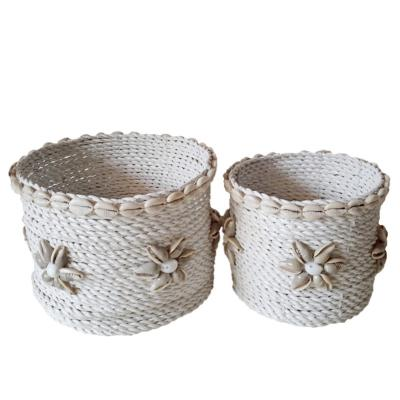 Panier Arosa blanc, coquillages - S