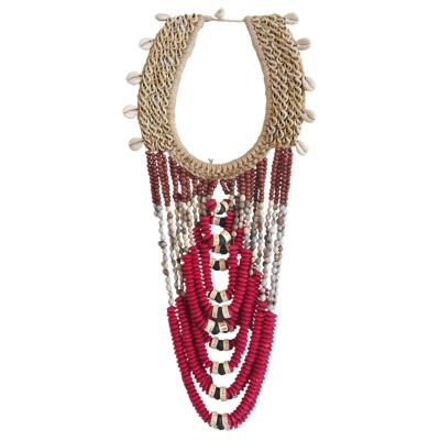Collier Papou rouge